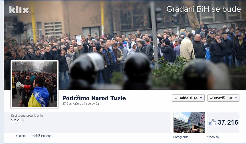 """Stranica """"Podržimo Narod Tuzle"""" za samo 24 sata broji više od 37 hiljada članova !"""